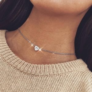 Jewelry - PREVIEW Crystal Heart Silver Choker Necklace